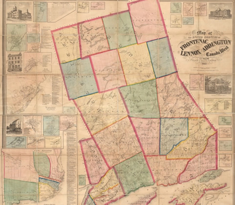 Walling 1860 Map Lennox & Addington